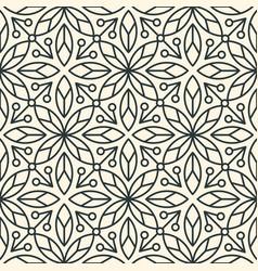 Seamless linear minimalistic flower pattern on vector