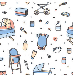 seamless pattern with infant care products vector image