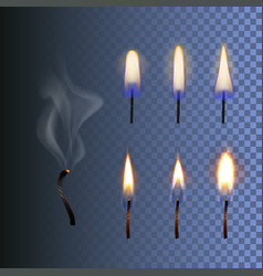 set of fire realistic candle flame and vector image