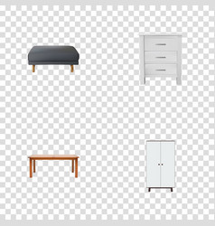 Set of furniture realistic symbols with cupboard vector
