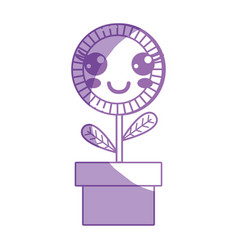 Silhouette kawaii cute happy plant flower with vector
