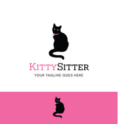 Sitting cat logo vector