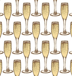 Sketch champagne glass in vintage style vector image