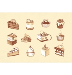 Sketches of cupcakes berry pie and chocolate vector image