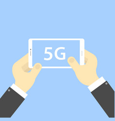Smartphone in hand with 5g internet connection vector