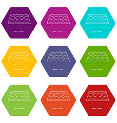 Spot plate icons set 9 vector