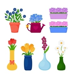 Spring flowers in pots vector