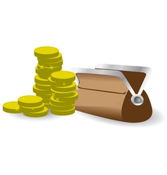 Stack of coins with purse vector image