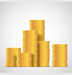 Stacks gold coins income and profits isolated vector