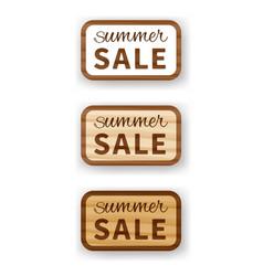 Summer sale wooden billboard vector