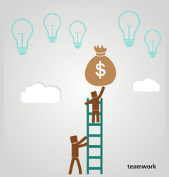 Teamwork - businessman profits vector