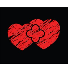 two red grunge hearts vector image