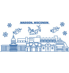 Usa wisconsin madison winter city skyline merry vector