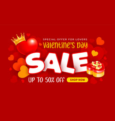 valentines day sale advertising banner vector image