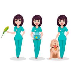 veterinarian woman set of three poses vector image