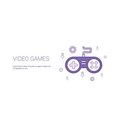 video games template web banner with copy space vector image