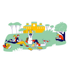 Young people studying together outdoors sitting vector