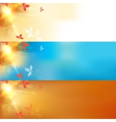 blurred autumn orange abstract banners set vector image vector image