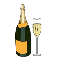 Bottle of a sparkling wine and glass of champagne vector image