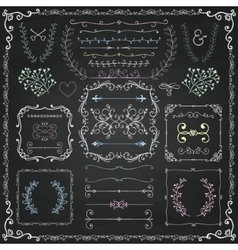 Chalk Drawing Decorative Doodle Design Elements vector image vector image