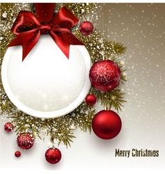 Christmas gift card with red ribbon and red vector