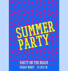 summer party poster design layout neon color vector image