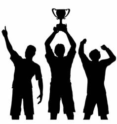 trophy winners celebrate sports victory vector image