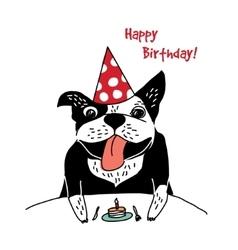 Dog French bulldog happy birthday cake greeting vector image vector image