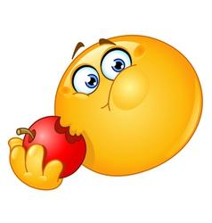 Emoticon eating apple vector