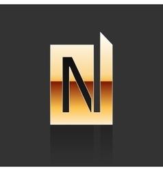Gold Letter N Shape Logo Element vector image vector image