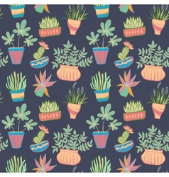Potted plants seamless pattern vector image vector image