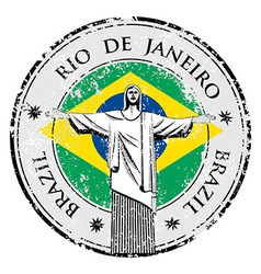 Rio theme stamp with statue of the Christ the Rede vector image