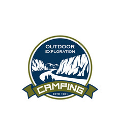 camping sport exploration mountain icon vector image vector image
