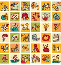 Doodles business icons color set vector image