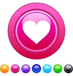 Heart circle button vector image