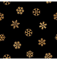 Seamless pattern of falling golden snowflakes vector image
