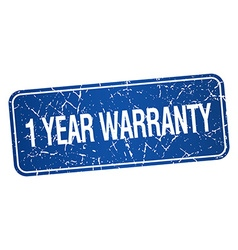 1 year warranty blue square grunge textured vector