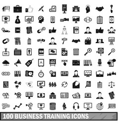 100 business training icons set simple style vector