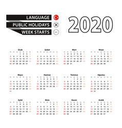 2020 calendar in turkish language week starts vector