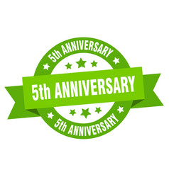 5th anniversary ribbon 5th anniversary round vector image