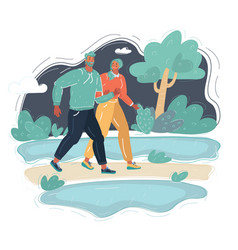 a couple walking in park vector image