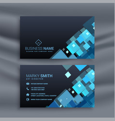 Abstract dark business card with geometric blue vector