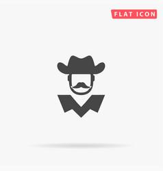 American cowboy sheriff flat icon hand drawn vector