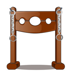 Ancient instruments of torture wooden shackles vector