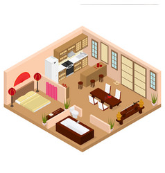 Apartment japanese style interior with furniture vector