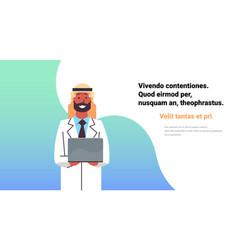 Arabic doctor hold laptop computer online vector