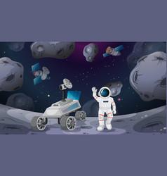 Astronaut and rover scene vector