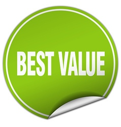 Best value round green sticker isolated on white vector