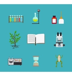 Biology laboratory workspace icons vector