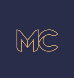 Brown blue line alphabet letter mc m c logo vector